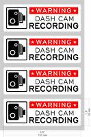 4 x Dash Cam Warning Sticker Sign Window Car Vehicle  CCTV Video Recording