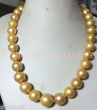 REAL HUGE GOLD 13-15mm ROUND SOUTH SEA GOLD BAROQUE PEARL NECKLACE 18''