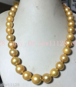 Rare HUGE 13-15mm ROUND SOUTH SEA GOLD BAROQUE PEARL NECKLACE 18''