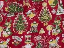 "Moomin Christmas heavy cotton fabric piece, red, half yard, 18x 58"", Finland"