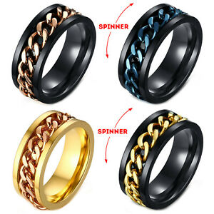 Men's Anxiety Spinner Ring Stainless Steel Curb Chain Comfort Fit Wedding Band