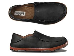 Olukai Moloa Black/Toffee Leather Loafer Slip-On Clog Men's sizes 7-14 NEW!!!
