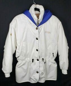Vintage Women's Descente White Blue Hooded Ski Snow Jacket Snap Zip up Size 8