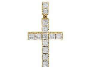 "Unisex 10K Yellow Gold Real Diamond Baguette Cross Pendant 3 CT 2.5"""