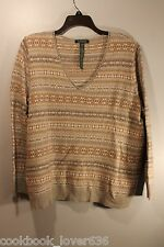NWT SWEATER PULLOVER RALPH LAUREN 3X LADIES GRAY TAN GOLD LAMBSWOOL CASHMERE