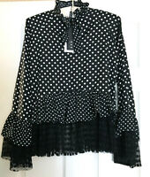 KAS New York Polka Dot Ruffle Lace Hem Blouse, Black, XS MSRP $134.00