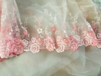 G23  watermelon//coral  Guipure Lace bridal lace 120cm wide-Sold  by 1//2 yard
