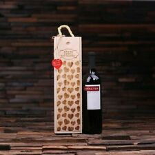 Personalized Valentines Day Single Wine Bottle Wooden Box Carrier Wine Gift