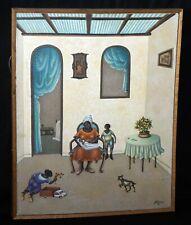 1982 Haitian Acrylic Painting Interior Scene w. Figures by Andre Blaise (***)