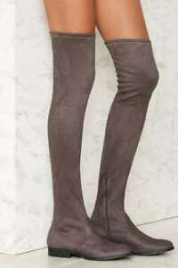 LFL by Lust for Life Radikal Thigh High Fitted Stretch Suede Fashion OTK Boot