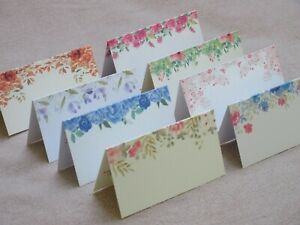 10 Floral Folded Place Cards, Name Cards, Weddings, White or Ivory, 8 Designs
