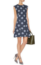 Kenzo Blue Denim Jacquard A-line Dress Circles Polka Dots Size M