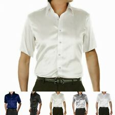 Mens 19-40mm 100% Pure Silk Business Formal Shirts Short Sleeve Plus Size S-7XL