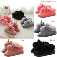 Women Winter Plush Bunny Rabbit Warm Indoor Slippers Slip On Soft Home Shoes WAN