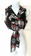 Hell Bunny Black Crop Tie Shirt Top ~ Tennessee Skull Roses Goth Punk BNWT M 12