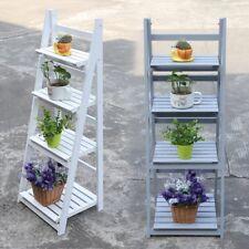 4 Tier White Wash Ladder Shelf Display Unit Standing/folding Book Shelves Y
