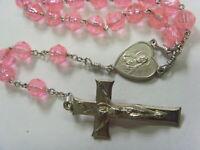 vintage Catholic faith religious faceted pink ice beads rosary crucifix 50568