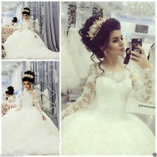 Custom Long Sleeve New Wedding Dresses Sequin Princess Bridal Ball Gowns all siz