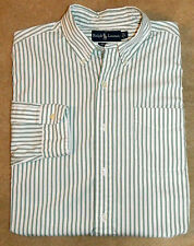 Polo Ralph Lauren Mens Classic Fit Striped Shirt White Green L Sleeve