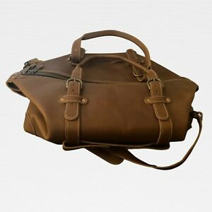Heritage Leather Duffel Bag by Pad & QuillTravel Luggage Lighy Brown EUC