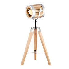 New Tripod Table Lamp Natural Wooden Shade 65cm Height Bedside Desk Light