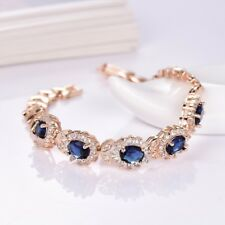 Lady Delicate 18K Yellow Gold Filled Blue Topaz Crystal Gemstone Chain Bracelet