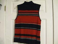 sleeveless vest sweater red white black striped george ladies large 12-14 78% ac