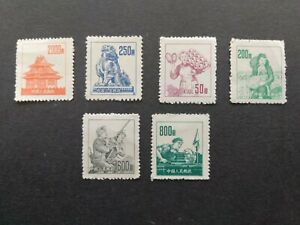 """CHINA - sc.# 177/182 - six unused stamps """"Textile Worker """" (1953)"""