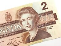 1986 Canada 2 Dollars CBI Circulated Canadian Bonin Thiessen Banknote N279