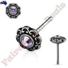 S Steel Antique Silver Nose Stud with Tanzanite Gem Tribal Heart Filigree Top