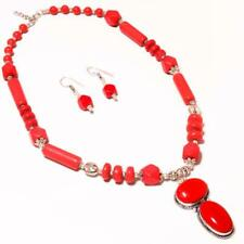 Silver Handmade Necklace Set Remarkable Red Coral Gemstone .925