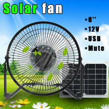 """8"""" 12W USB Solar Panel Fan Powered Outdoor Home Greenhouse Cooling Ventilation"""
