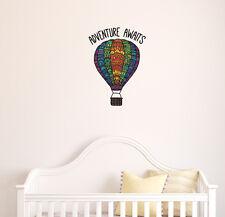 CLR:FLAT - Patterned Hot Air Balloon ADVENTURE AWAITS Vinyl Wall Decal  ©YYDC LG