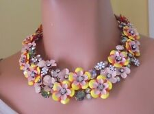 AUTHENTIC J CREW JEWELED FUN FLORAL AND CRYSTAL STATEMENT NECKLACE NWT #F2798