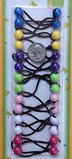 blue yellow elastic Scrunchies jumbo beads hair tie girl Balls Ponytail Holders