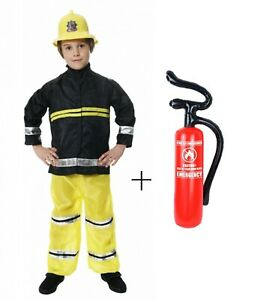 Boys Fireman Sam Fire Fighter Inflatable Extinguisher Kids Book Week Day Costume