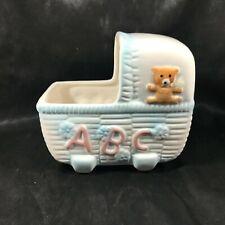 New listing Vintage Nancy Pew Baby Buggy Teddy Bear Abc's Ceramic Planter