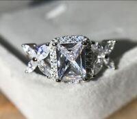 3Ct Radiant Cut VVS1 Diamond Vintage Halo Engagement Ring 14K White Gold Finish