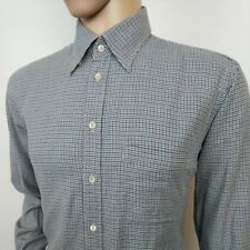 Gieves & Hawkes Mens Shirt Houndstooth Oxford Navy White Sz L 16.5 RRP£225