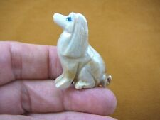 (Y-DOG-CS-2) white tan Cocker Spaniel love my dog carving SOAPSTONE puppy dogs