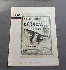 PUB PUBLICITE ANCIENNE ADVERT CLIPPING 070717 1914 L'ORÉAL TEINTURE LA JEUNESSE
