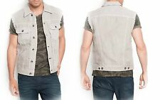 NWT $118 GUESS Lucas denim jeans trucker Vest in Asteroid wash size S MEN'S
