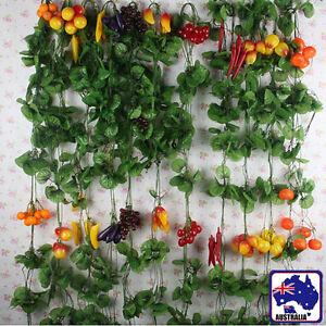 10x 2.4m 7.9ft Artificial Fruit Leaf Vine Garden Foliage Pastoral Grape Mango