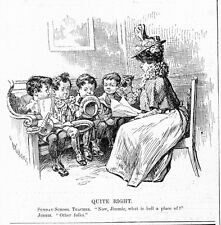SUNDAY SCHOOL TEACHER TALKING TO JIMMIE, WHAT IS HELL? 1898 ANTIQUE ENGRAVING