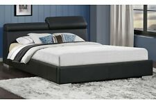 Queen Size Contemporary Manjot Bedroom Softly Black PU Silver Finish Legs Bed