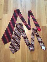Yves Saint Laurent Mens Vintage YSL Silk Ties x2 Set Mint