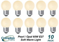 10 Pack x 60W Pearl / Opal Fancy Round Light Globes / Bulbs Screw Cap E27