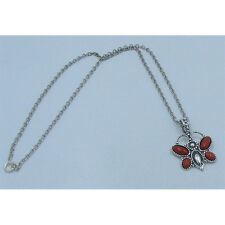 PETITE .925 Sterling Silver Natural Red Bamboo Coral Butterfly Chain Necklace