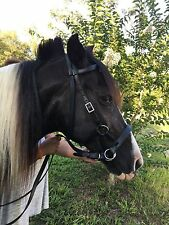 Black Leather Side pull Hackamore Bitless Bridle and Reins Horse Tack
