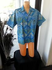 VTG 70s Men Shirt Blue/Green HandMade Indonesia Hawaiian Hippy Tag XS-Actual M/L